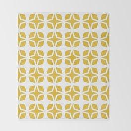 Mid Century Modern Star Pattern Mustard Yellow 551 Throw Blanket