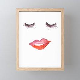 Lips and Eyelashes Framed Mini Art Print