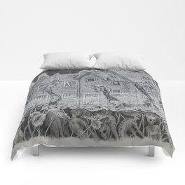 Lotus Teeth (collaboration with Kevin Newell of Evergreen Illustration) Comforters