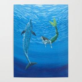 Mermaid & Dolphin - No. 2 Poster