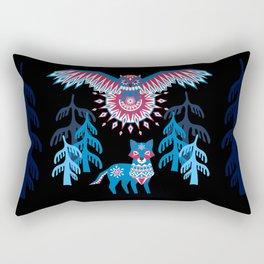 A Northern Folk Winter Woods Midnight Sun Rectangular Pillow