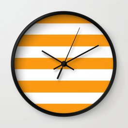 Kumquat - solid color - white stripes pattern Wall Clock