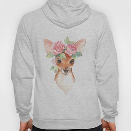 Watercolor Floral Fawn Hoody