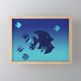 Nine Blue Fish with Patterns Framed Mini Art Print