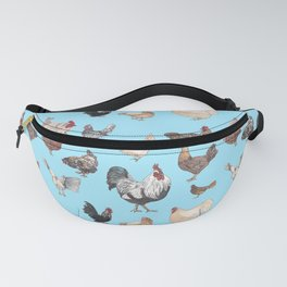 Chicken Happy (blue) Fanny Pack