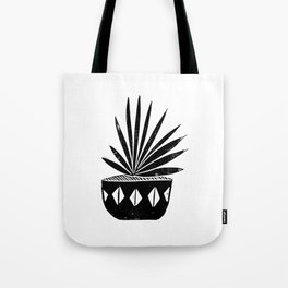 Aloe houseplant linocut lino print black and white minimal modern office home dorm college decor Tote Bag