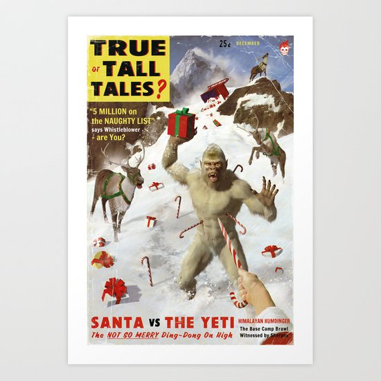 SANTA vs THE YETI Art Print