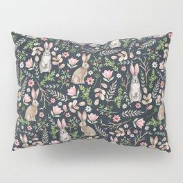 Cute rabbits (dark blue) Pillow Sham
