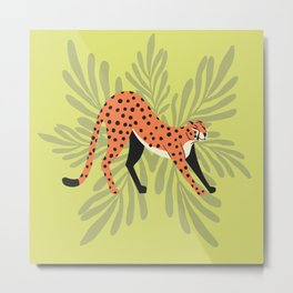 Cheetah stretching mint Metal Print