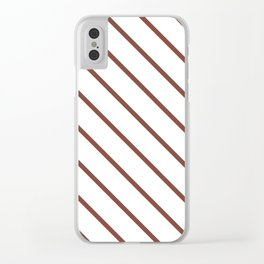 Diagonal Lines (Maroon & White Pattern) Clear iPhone Case