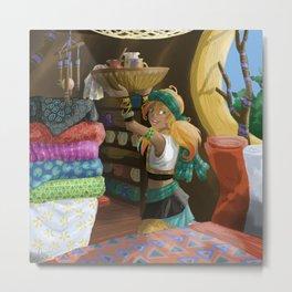 Paintings on textile Metal Print