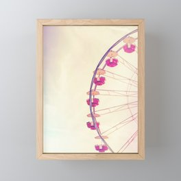 Vintage Inspired Ferris Wheel in Hot Pink and Cream Framed Mini Art Print