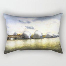 The Thames Barrier London Art Rectangular Pillow