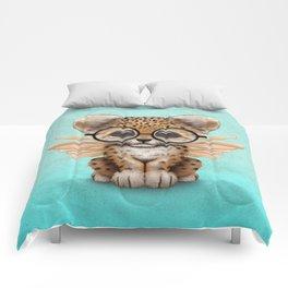 Cute Leopard Cub Fairy Wearing Glasses on Blue Comforters