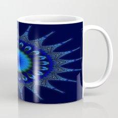 Blue kaleidoscope fractal star Mug