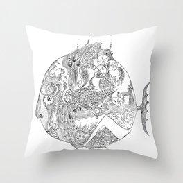 sad fish Throw Pillow