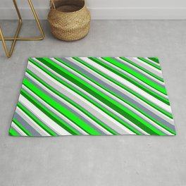 Eyecatching Light Gray, Light Slate Gray, Lime, Green, and White Colored Striped Pattern Rug