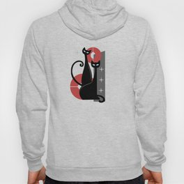 Modern Meows Atomic Age Black Kitschy Cats Hoody