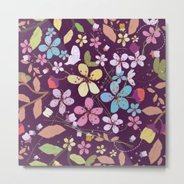 Plum flowers and colorful pattern Metal Print
