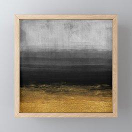 Black and Gold grunge stripes on modern grey concrete abstract background - Stripe -Striped Framed Mini Art Print
