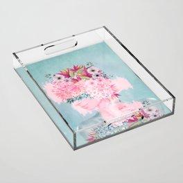 Woman in flowers II Acrylic Tray