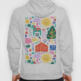 Happy Swedish Farm in White Hoody