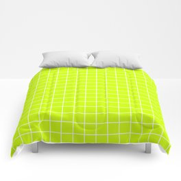 Volt - green color - White Lines Grid Pattern Comforters