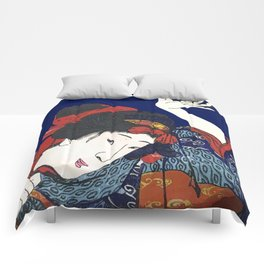 GEISHA IN BLUE Comforters
