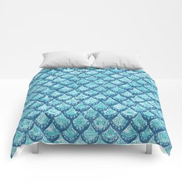 MERMAID SPARKLE Fish Scales Scallop Watercolor Comforters