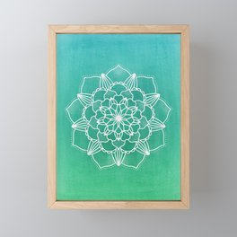 Mandala Flower in Green Ombre Framed Mini Art Print