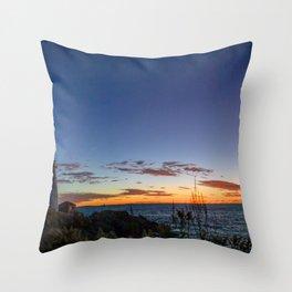 Portland Maine Head Light Dawn Throw Pillow