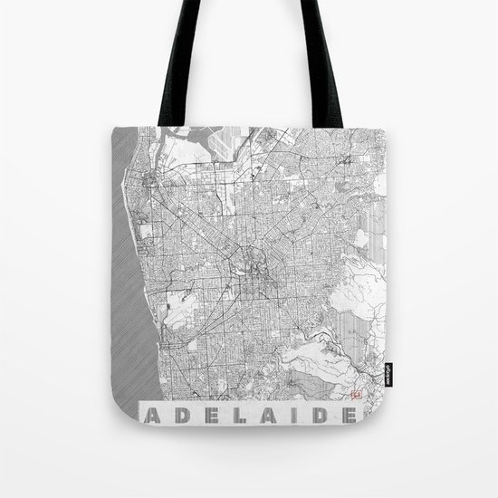 Adelaide Map Line Tote Bag