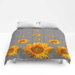 RAINING GOLDEN STARS YELLOW SUNFLOWERS GREY COLOR Comforters