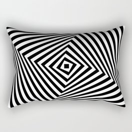 Op art rotating square in black and white Rectangular Pillow