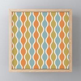 Classic Retro Ogee Pattern 842 Orange Blue and Olive Framed Mini Art Print