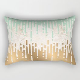 Marble and Geometric Diamond Drips, in Gold and Mint Rectangular Pillow