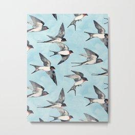 Blue Sky Swallow Flight Metal Print