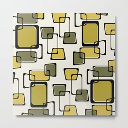 Skewed Squares Midcentury Pattern Chartreuse Metal Print