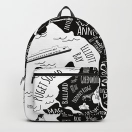 Seattle Illustrated Map in Black and White - Single Print Backpack