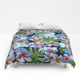 Rainbow Plumeria Dark Comforters