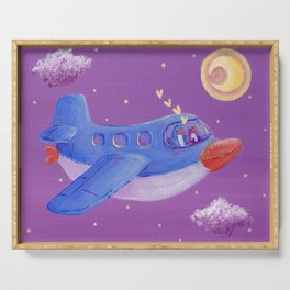 Penguin couple fly the starry purple sky in their penguin airplane! Serving Tray