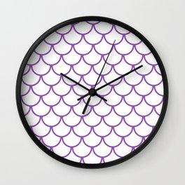 Purple Fish Scales Pattern Wall Clock