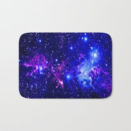 Fox Fur Nebula Galaxy blue purple Bath Mat