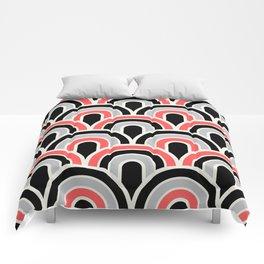 Rainbow Connection:  Black, Coral, Grey Comforters
