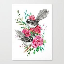 Floral Piwakawakas Canvas Print