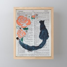 Steampunk Fascination ( Cat with Peach Roses and Gears ) Framed Mini Art Print