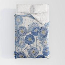 blue indigo dandelion pattern watercolor Duvet Cover