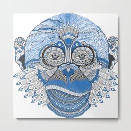 Monkey Head Illustration Metal Print
