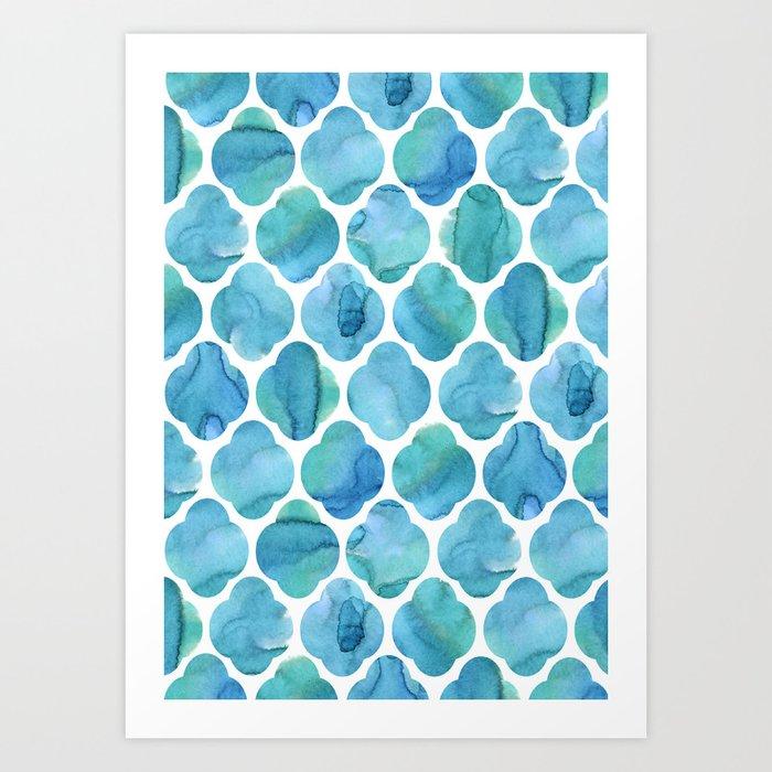 Watercolour Blue Moroccan Tile Print Art Print by laurenthomas2