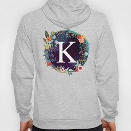Personalized Monogram Initial Letter K Floral Wreath Artwork Hoody